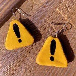 Handpainted road sign earrings